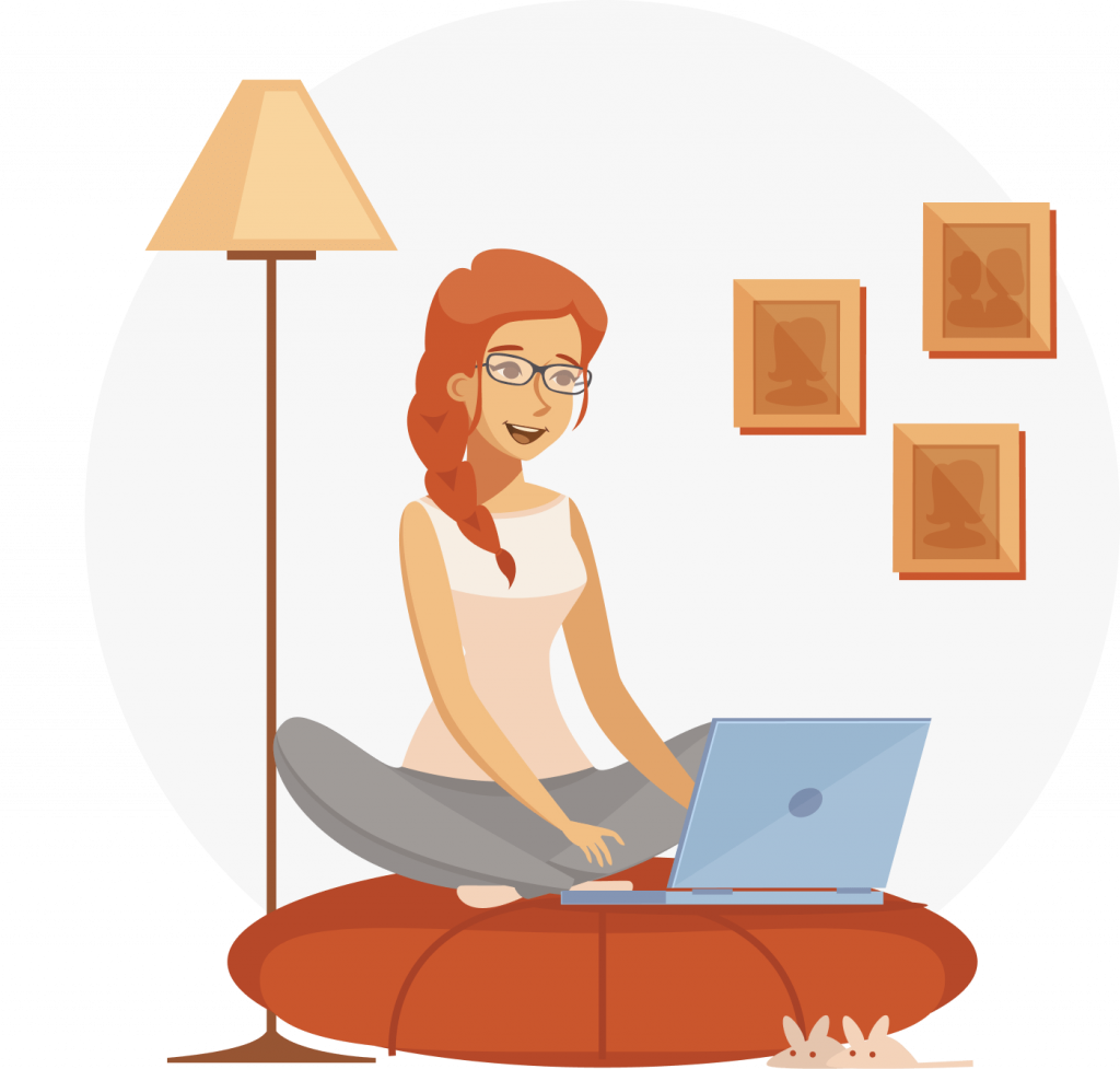 Redhead girl with laptop