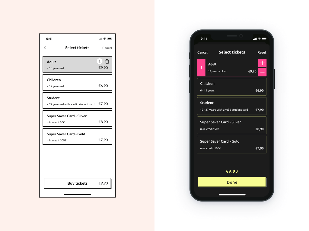 Mockup Select tickets screen iPhone 11 Pro